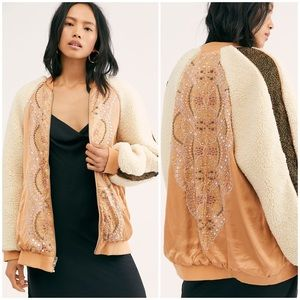 Free People Wicked Games Sherpa Satin Bomber Sz S